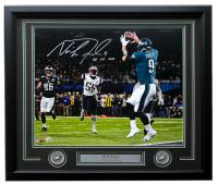 "Nick Foles Signed Eagles Super Bowl LII 22x27 Custom Framed Photo Display Inscribed ""SB LII MVP"" (Fanatics Hologram) at PristineAuction.com"