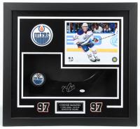 "Connor McDavid Signed Oilers ""1st NHL Goal"" 23x25x4 Custom Framed Shadowbox Display (JSA COA) at PristineAuction.com"