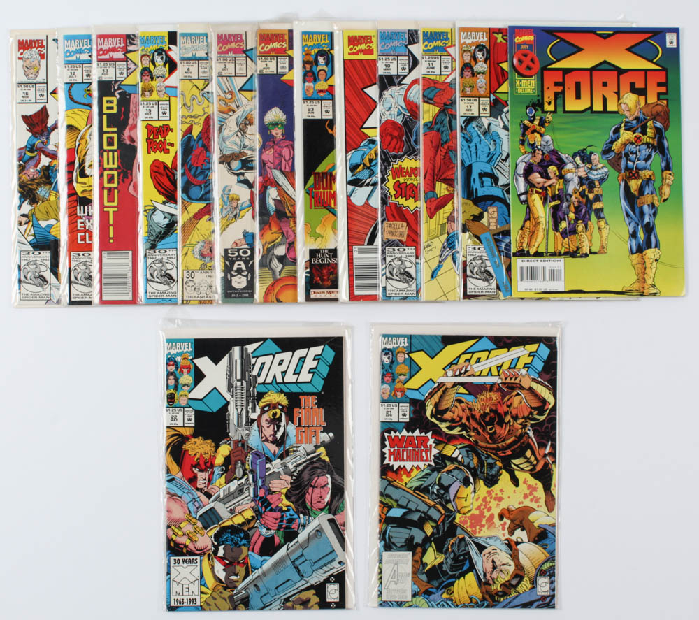 Lot of (15) Marvel Comics X-Force Comic Books Issues Ranging from #1 - #44 at PristineAuction.com