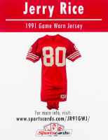 Jerry Rice 1991 Game Worn Jersey Piece at PristineAuction.com