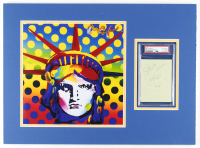 Peter Max Signed 12x22 Custom Matted Cut Display (PSA Encapsulated) at PristineAuction.com