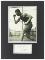 """Jack Dempsey Signed 12x16 Custom Matted Cut Display With Inscribed """"Lots of Luck"""" & """"12/18/59"""" (Beckett LOA) at PristineAuction.com"""