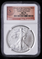 2012(S) American Silver Eagle $1 One-Dollar Coin - Early Releases, Struck at San Francisco Mint Label (NGC MS70) at PristineAuction.com