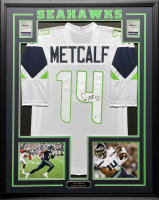 D.K. Metcalf Signed 34.5x42.5 Custom Framed Jersey (Beckett COA) at PristineAuction.com