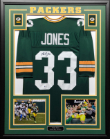 Aaron Jones Signed 34.5x42.5 Custom Framed Jersey (Beckett COA) at PristineAuction.com