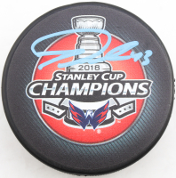 Tom Wilson Signed 2018 Stanley Cup Champions Logo Hockey Puck with Display Case (COJO COA) at PristineAuction.com