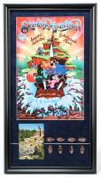 "Disneyland ""Splash Mountain"" 15x27 Custom Framed Poster Display with (8) Original Splash Mountain Coins & Vintage Postcard at PristineAuction.com"