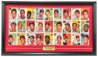 1954 First Issue Sports Illustrated Magazine 16x27.5 Custom Framed Uncut Topps Baseball Card Sheet Display with Ted Williams, Willie Mays, Jackie Robinson at PristineAuction.com