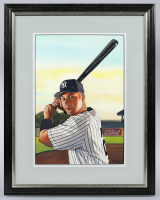 "James Fiorentino Signed ""Derek Jeter"" 20x28 Custom Framed Original Watercolor Painting at PristineAuction.com"