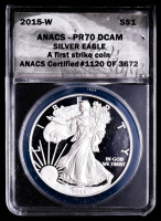 2015-W American Silver Eagle $1 One Dollar Coin - First Strike, Black Eagle Label (ANACS PR70 Deep Cameo) at PristineAuction.com