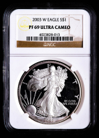 2003-W American Silver Eagle $1 One Dollar Coin (NGC PF69 Ultra Cameo) at PristineAuction.com