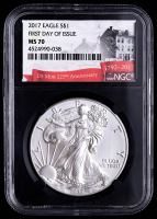 2017 American Silver Eagle $1 One Dollar Coin - First Day of Issue, Black Core Holder (NGC MS70) at PristineAuction.com