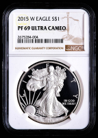 2015-W American Silver Eagle $1 One Dollar Coin (NGC PF69 Ultra Cameo) at PristineAuction.com