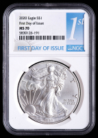 2020 American Silver Eagle $1 One Dollar Coin - First Day Of Issue (NGC MS70) at PristineAuction.com
