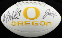 Marcus Mariota & Justin Herbert Signed Oregon Ducks Logo Football (Beckett COA) at PristineAuction.com