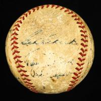 Baseball Signed by (18) with Joe DiMaggio, Jimmie Foxx, Walter Johnson, Bill Dickey, Red Rolfe, Hank Greenberg, Bob Johnson, Joe Gordon, Rollie Hemsley (JSA ALOA) at PristineAuction.com
