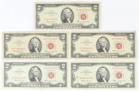 Lot of (5) 1963 $2 Two-Dollar Red Seal U.S. Legal Tender Notes at PristineAuction.com