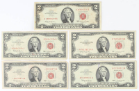 Lot of (5) 1953/1963 $2 Two-Dollar Red Seal U.S. Legal Tender Notes at PristineAuction.com