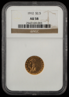 1912 $2.50 Indian Head Quarter Eagle Gold Coin (AU 58) at PristineAuction.com
