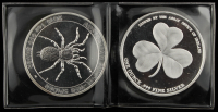 Lot of (2) .999 Fine Silver Rounds With 2015 Australian Funnel-Web Spider $1 One-Dollar Coin & 2016 Irish Shamrock Bullion at PristineAuction.com