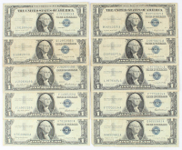 Lot of (10) 1957 $1 One-Dollar U.S. Silver Certificates at PristineAuction.com