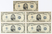 Lot of (5) 1934 $5 Five-Dollar U.S. Silver Certificates at PristineAuction.com