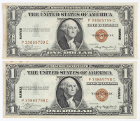 Lot of (2) 1935-A $1 One-Dollar Hawaii Brown Seal Silver Certificates with Consecutive Serial Numbers at PristineAuction.com