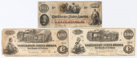 Lot of (3) 1862 Fourth Series $100 One-Hundred Dollar Confederate Bank Notes with T-39, T-40, & T-41 at PristineAuction.com