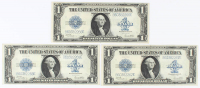 Lot of (3) 1923 $1 One-Dollar Blue Seal U.S. Large-Size Silver Certificate Bank Notes with Consecutive Serial Numbers at PristineAuction.com