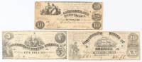 Lot of (3) 1861 J.T. Paterson Confederate Bank Notes with $20, $10, & $5 at PristineAuction.com