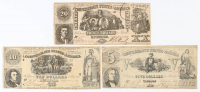 Lot of (3) 1861 B. Duncan Confederate Bank Notes with $20, $10, & $5 at PristineAuction.com