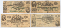 Lot of (4) 1862 Fourth Series Confederate Bank Notes with (2) $2 & (2) $1 at PristineAuction.com
