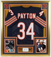Walter Payton Signed 32x36 Custom Framed Cut Display with Jersey & (2) Pins (PSA COA) at PristineAuction.com