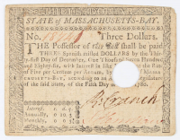 1780 $3 Three Dollars - Massachusetts Bay - Colonial Currency Note at PristineAuction.com