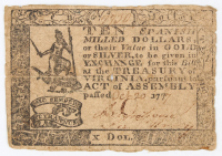 1777 $10 Ten Dollars - Virginia - Colonial Currency Note at PristineAuction.com