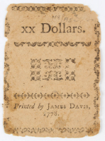 1778 $20 Twenty Dollars - North Carolina - Colonial Currency Note at PristineAuction.com