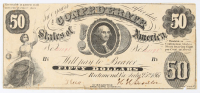 1861 $50 Fifty-Dollar Confederate States of America Richmond CSA Bank Note at PristineAuction.com