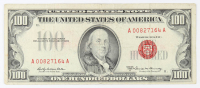 1966-A $100 One-Hundred Dollar Red Seal U.S. Legal Tender Note at PristineAuction.com