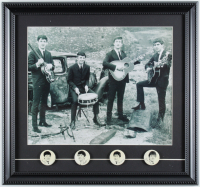 The Beatles 15x16 Custom Framed Photo Display with Set of (4) Vintage Beatles Lapel Pins at PristineAuction.com
