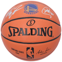 Stephen Curry & Klay Thompson Signed Warriors Logo NBA Game Ball Series Basketball (Fanatics Hologram) at PristineAuction.com