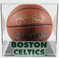 Larry Bird Signed Basketball with Celtics Logo Display Case (PSA COA) at PristineAuction.com