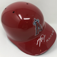 """Mike Trout Signed Angels Authentic On-Field Full-Size Batting Helmet Inscribed """"14, 16, 19 AL MVP"""" (MLB Hologram) at PristineAuction.com"""