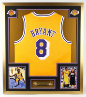 Kobe Bryant 33x37 Custom Framed Jersey With (2) NBA Finals Champions Pins at PristineAuction.com