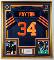 Walter Payton 33x37 Custom Framed Jersey with Signed Index Card (PSA 10 Encapsulated) at PristineAuction.com