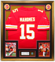 Patrick Mahomes 32.5x36.5 Custom Framed Jersey Display with Super Bowl LIV Champions Pin at PristineAuction.com