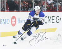 T. J. Oshie Signed Blues 11x14 Photo (Beckett COA) at PristineAuction.com