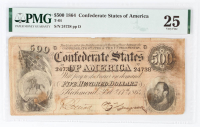 1864 $500 Five-Hundred Dollar Confederate States of America Richmond CSA Bank Note (PMG 25) at PristineAuction.com