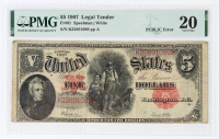 Error Note - PCBLIC Error - 1907 $5 Five-Dollar Red Seal U.S. Legal Tender Large-Size Bank Note (PMG 20) at PristineAuction.com
