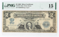 1899 $2 Two-Dollar U.S. Silver Certificate Large-Size Bank Note (PMG 15) at PristineAuction.com