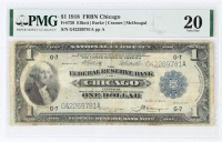 1918 $1 One-Dollar U.S. National Currency Large-Size Bank Note - The Federal Reserve Bank of Chicago, Illinois (PMG 20) at PristineAuction.com
